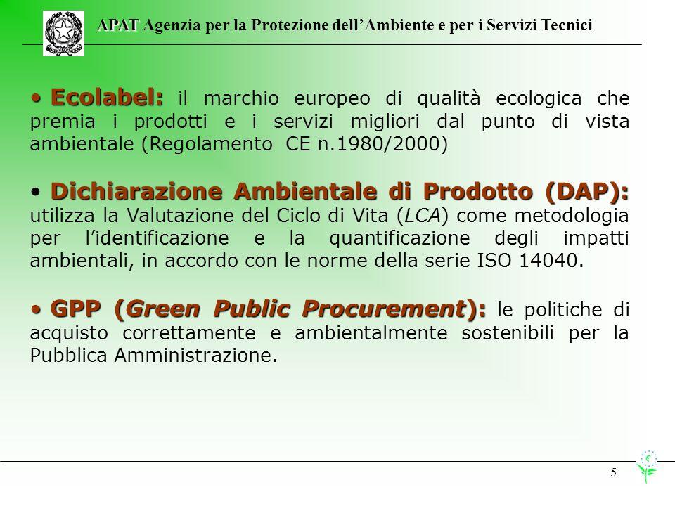5 APAT APAT Agenzia per la Protezione dellAmbiente e per i Servizi Tecnici Ecolabel: Ecolabel: il marchio europeo di qualità ecologica che premia i prodotti e i servizi migliori dal punto di vista ambientale (Regolamento CE n.1980/2000) Dichiarazione Ambientale di Prodotto (DAP): Dichiarazione Ambientale di Prodotto (DAP): utilizza la Valutazione del Ciclo di Vita (LCA) come metodologia per lidentificazione e la quantificazione degli impatti ambientali, in accordo con le norme della serie ISO 14040.