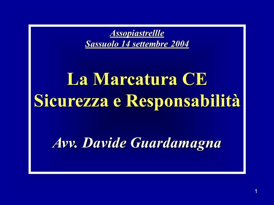 1 Assopiastrellle Sassuolo 14 settembre 2004 La Marcatura CE Sicurezza e Responsabilità Avv. Davide Guardamagna