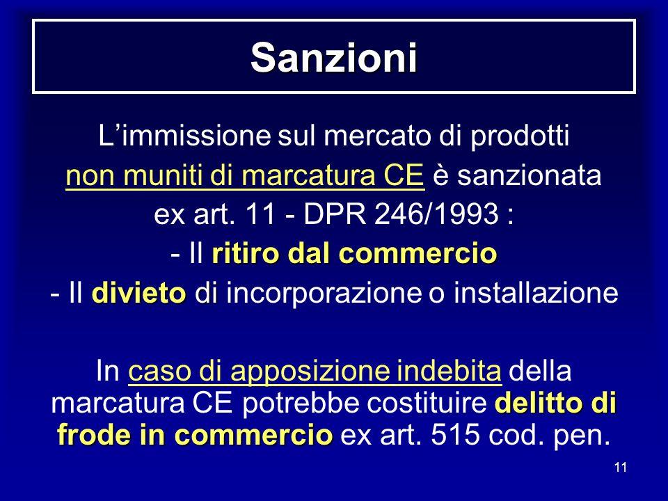 11 Sanzioni Limmissione sul mercato di prodotti non muniti di marcatura CE è sanzionata ex art. 11 - DPR 246/1993 : ritiro dal commercio - Il ritiro d