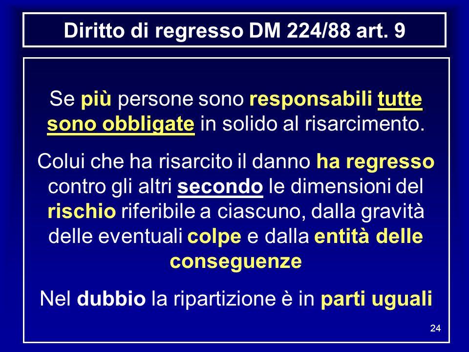 24 Diritto di regresso DM 224/88 art. 9 tutte sono obbligate Se più persone sono responsabili tutte sono obbligate in solido al risarcimento. Colui ch