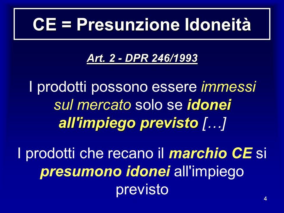 4 CE = Presunzione Idoneità Art. 2 - DPR 246/1993 idonei all'impiego previsto I prodotti possono essere immessi sul mercato solo se idonei all'impiego