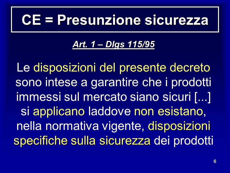 6 CE = Presunzione sicurezza Art. 1 – Dlgs 115/95 disposizioni specifiche sulla sicurezza Le disposizioni del presente decreto sono intese a garantire