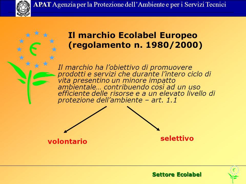 Settore Ecolabel APAT APAT Agenzia per la Protezione dellAmbiente e per i Servizi Tecnici Il marchio Ecolabel Europeo (regolamento n. 1980/2000) Il ma