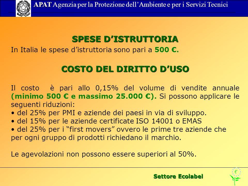 Settore Ecolabel APAT APAT Agenzia per la Protezione dellAmbiente e per i Servizi Tecnici SPESE DISTRUTTORIA In Italia le spese distruttoria sono pari a 500.
