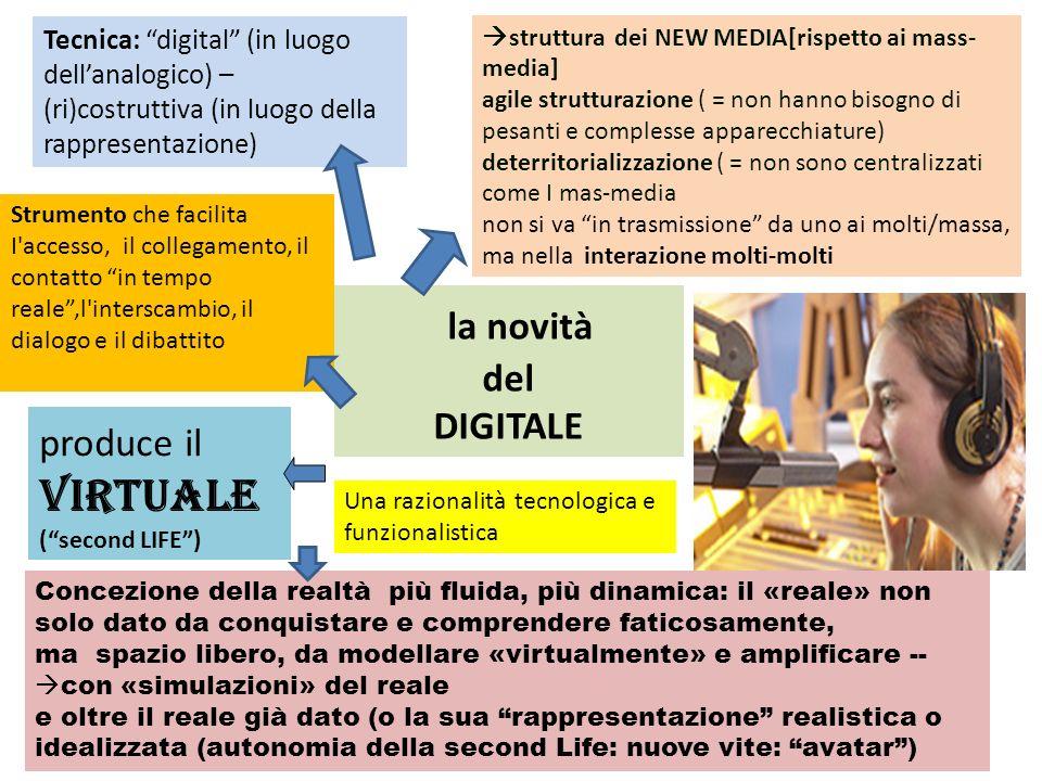 la novità del DIGITALE Tecnica: digital (in luogo dellanalogico) – (ri)costruttiva (in luogo della rappresentazione) struttura dei NEW MEDIA[rispetto