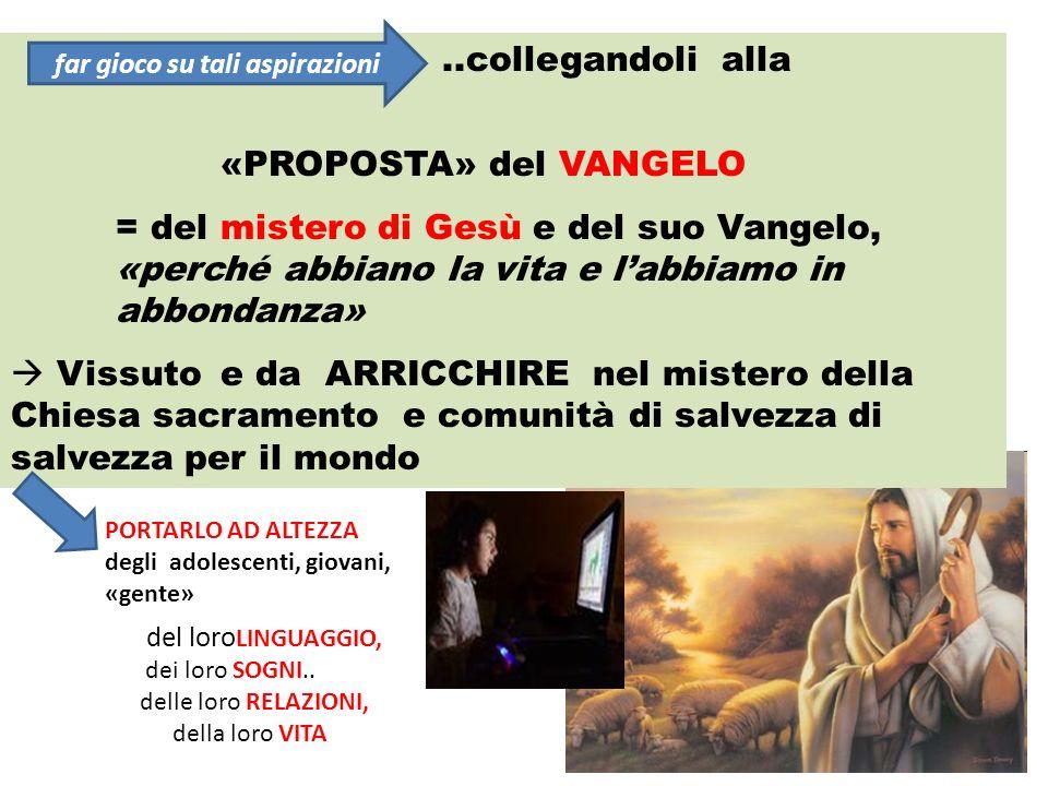 ..collegandoli alla «PROPOSTA» del VANGELO = del mistero di Gesù e del suo Vangelo, «perché abbiano la vita e labbiamo in abbondanza» Vissuto e da ARR