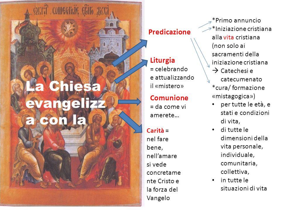 La Chiesa evangelizz a con la Predicazione Comunione = da come vi amerete… Liturgia = celebrando e attualizzando il «mistero» *Primo annuncio *Iniziaz