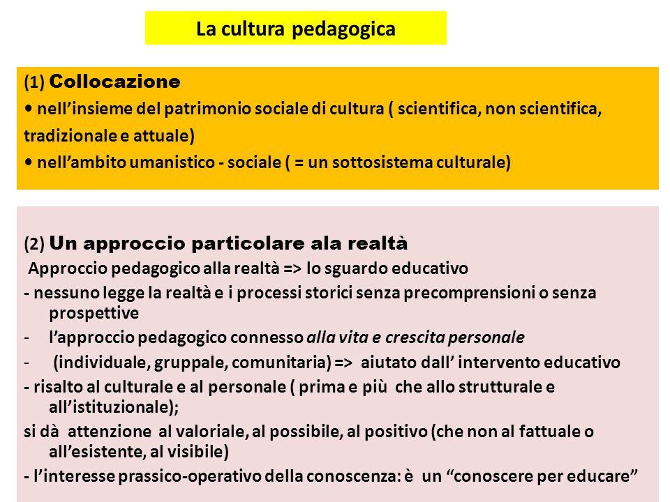 La cultura pedagogica (2) Un approccio particolare ala realtà Approccio pedagogico alla realtà => lo sguardo educativo - nessuno legge la realtà e i p