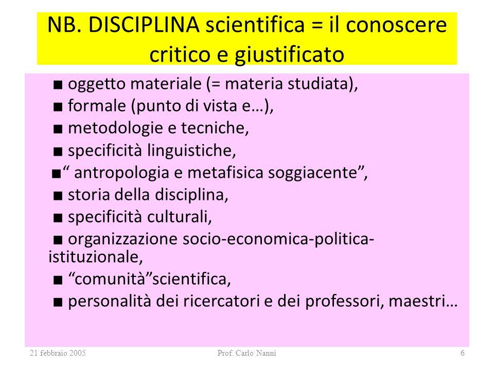 21 febbraio 2005Prof. Carlo Nanni6 NB. DISCIPLINA scientifica = il conoscere critico e giustificato oggetto materiale (= materia studiata), formale (p