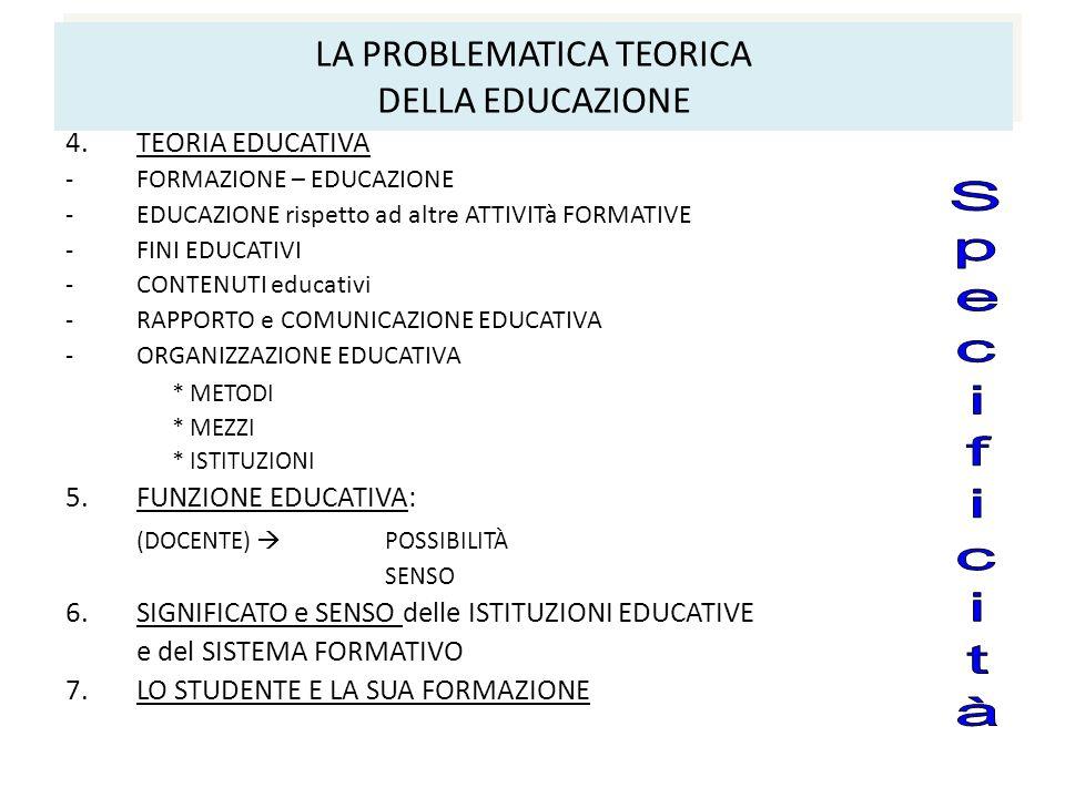 LA PROBLEMATICA TEORICA DELLA EDUCAZIONE 4.TEORIA EDUCATIVA -FORMAZIONE – EDUCAZIONE -EDUCAZIONE rispetto ad altre ATTIVITà FORMATIVE -FINI EDUCATIVI