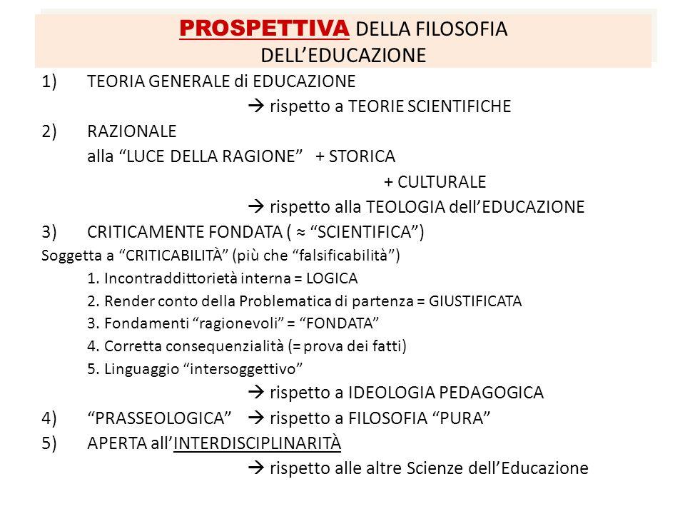 PROSPETTIVA DELLA FILOSOFIA DELLEDUCAZIONE 1)TEORIA GENERALE di EDUCAZIONE rispetto a TEORIE SCIENTIFICHE 2) RAZIONALE alla LUCE DELLA RAGIONE+ STORIC