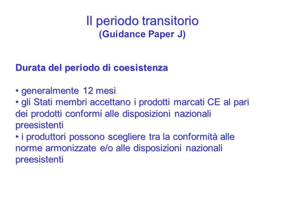 Il periodo transitorio Il periodo transitorio (Guidance Paper J) Durata del periodo di coesistenza generalmente 12 mesi generalmente 12 mesi gli Stati