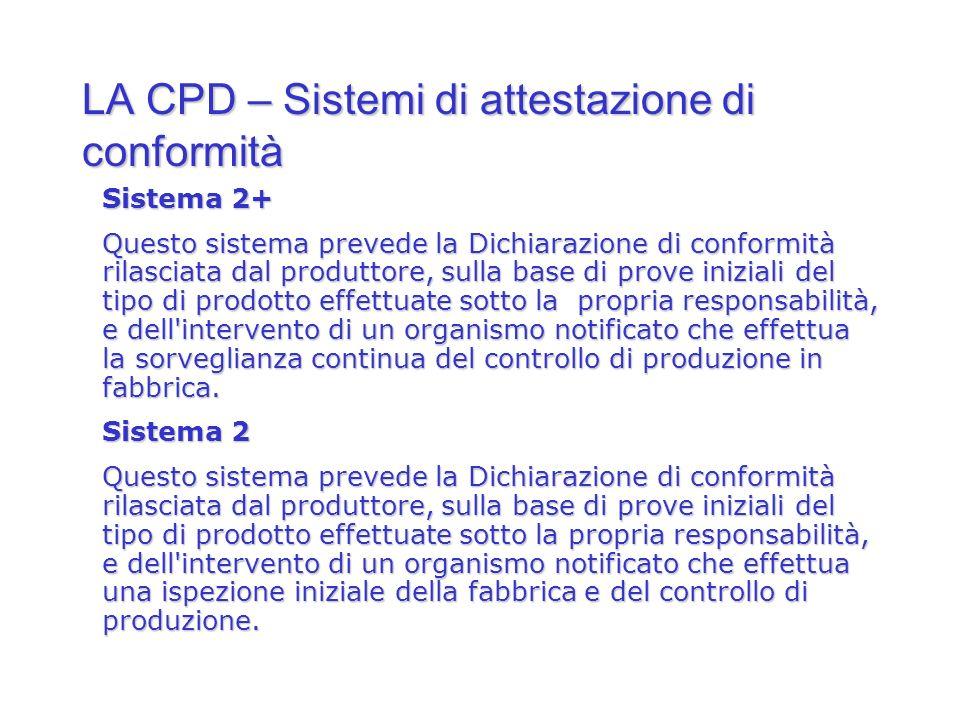 LA CPD – Sistemi di attestazione di conformità Sistema 2+ Questo sistema prevede la Dichiarazione di conformità rilasciata dal produttore, sulla base
