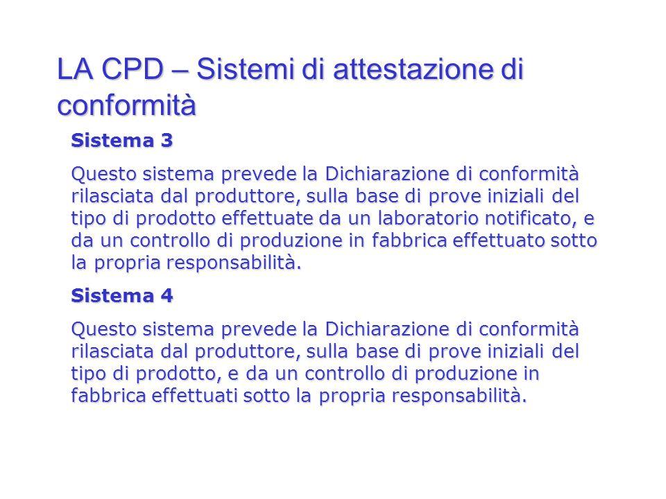 LA CPD – Sistemi di attestazione di conformità Sistema 3 Questo sistema prevede la Dichiarazione di conformità rilasciata dal produttore, sulla base d