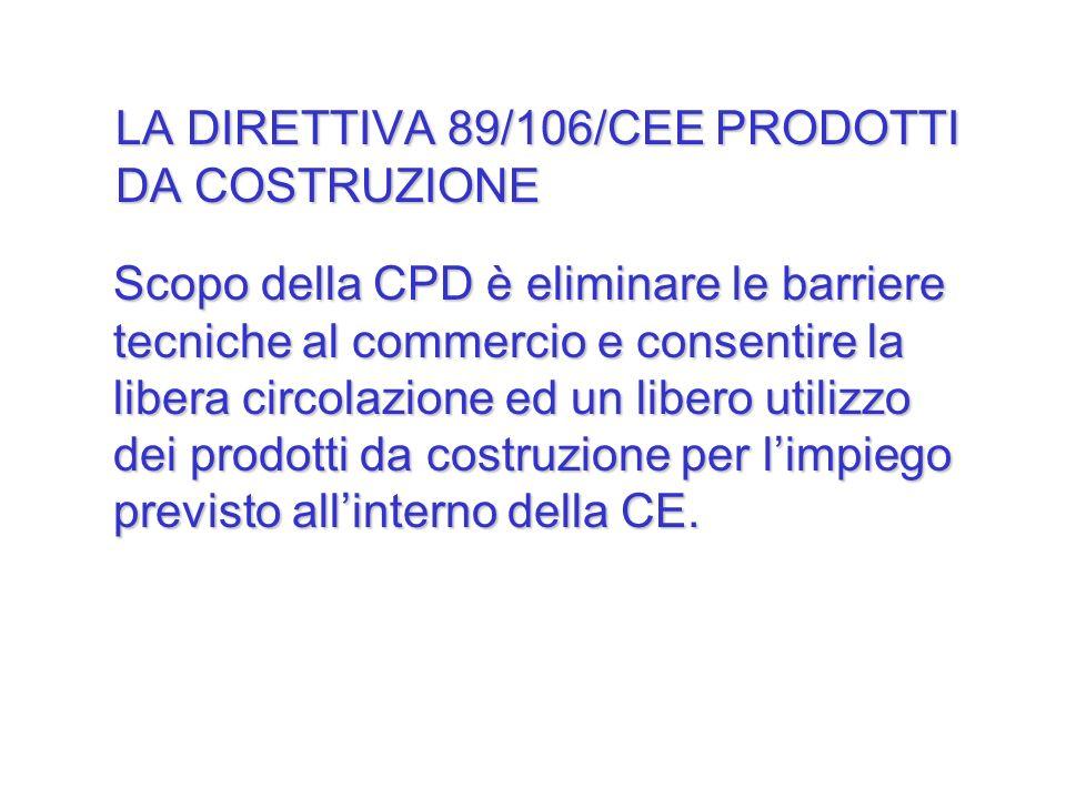 Scopo della CPD è eliminare le barriere tecniche al commercio e consentire la libera circolazione ed un libero utilizzo dei prodotti da costruzione pe
