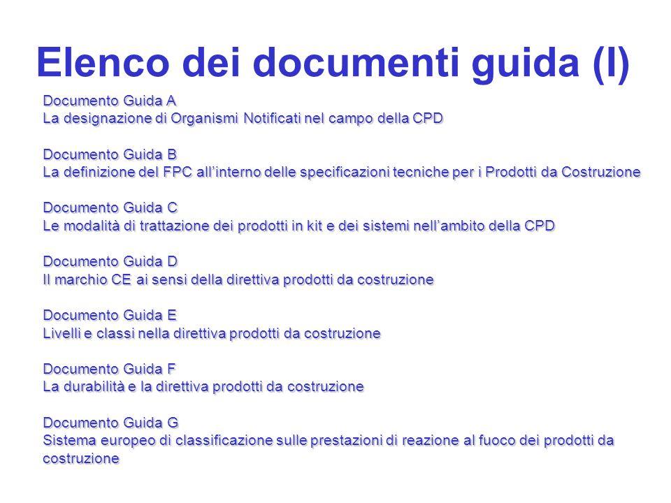 Elenco dei documenti guida (I) Documento Guida A La designazione di Organismi Notificati nel campo della CPD Documento Guida B La definizione del FPC