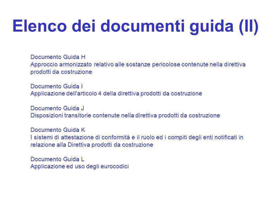 Elenco dei documenti guida (II) Documento Guida H Approccio armonizzato relativo alle sostanze pericolose contenute nella direttiva prodotti da costru