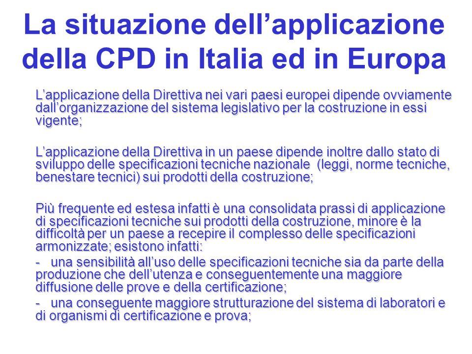 La situazione dellapplicazione della CPD in Italia ed in Europa Lapplicazione della Direttiva nei vari paesi europei dipende ovviamente dallorganizzaz