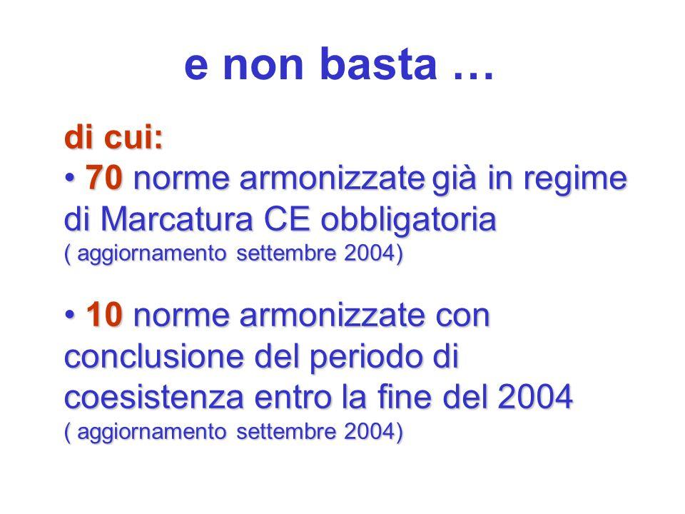 e non basta … di cui: 70 norme armonizzategià in regime di Marcatura CE obbligatoria 70 norme armonizzate già in regime di Marcatura CE obbligatoria (