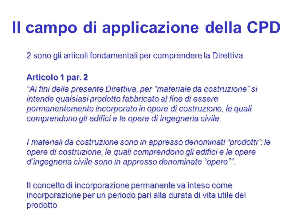Il campo di applicazione della CPD 2 sono gli articoli fondamentali per comprendere la Direttiva Articolo 1 par. 2 Ai fini della presente Direttiva, p