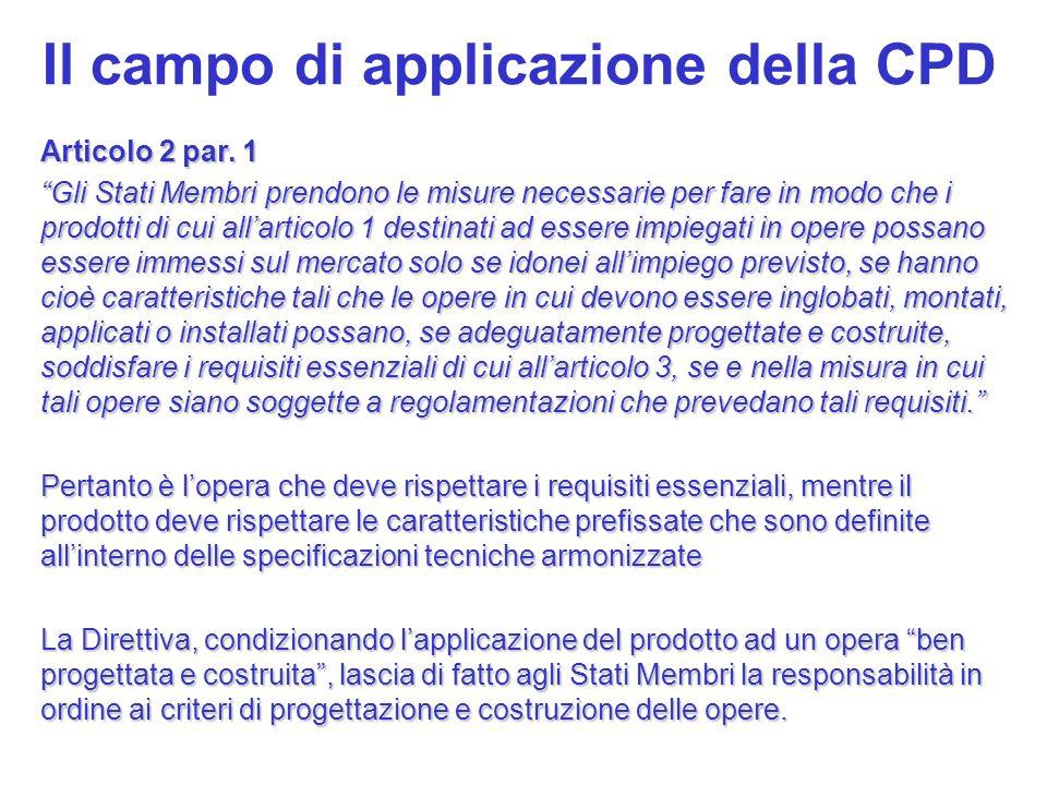 Il campo di applicazione della CPD Articolo 2 par. 1 Gli Stati Membri prendono le misure necessarie per fare in modo che i prodotti di cui allarticolo