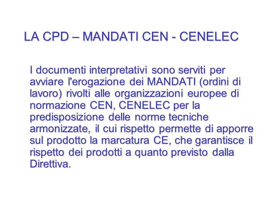 LA CPD – MANDATI CEN - CENELEC I documenti interpretativi sono serviti per avviare l'erogazione dei MANDATI (ordini di lavoro) rivolti alle organizzaz