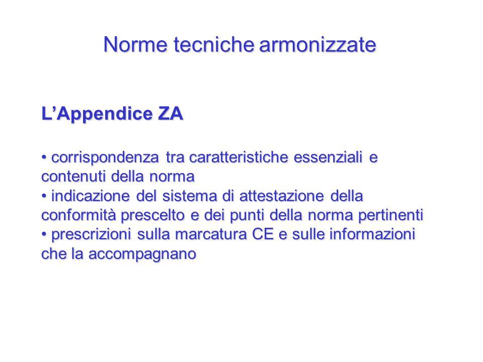 Norme tecniche armonizzate LAppendice ZA corrispondenza tra caratteristiche essenziali e contenuti della norma corrispondenza tra caratteristiche esse