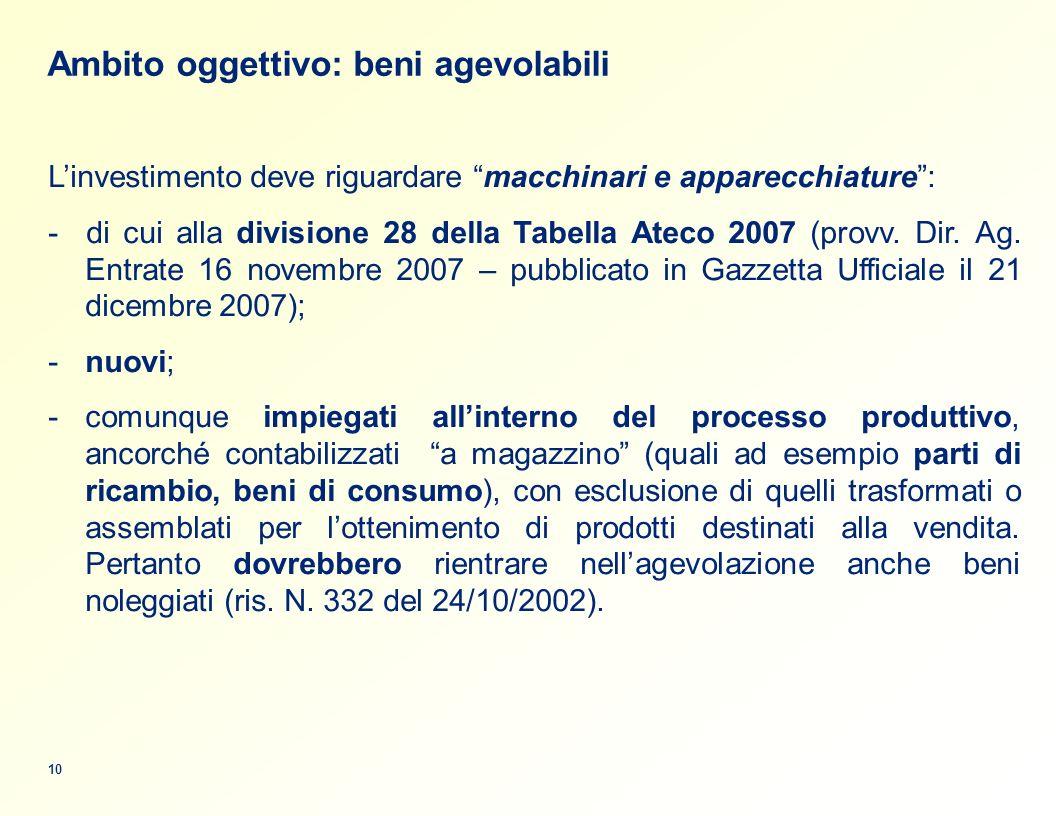 Ambito oggettivo: beni agevolabili Linvestimento deve riguardare macchinari e apparecchiature: - di cui alla divisione 28 della Tabella Ateco 2007 (provv.
