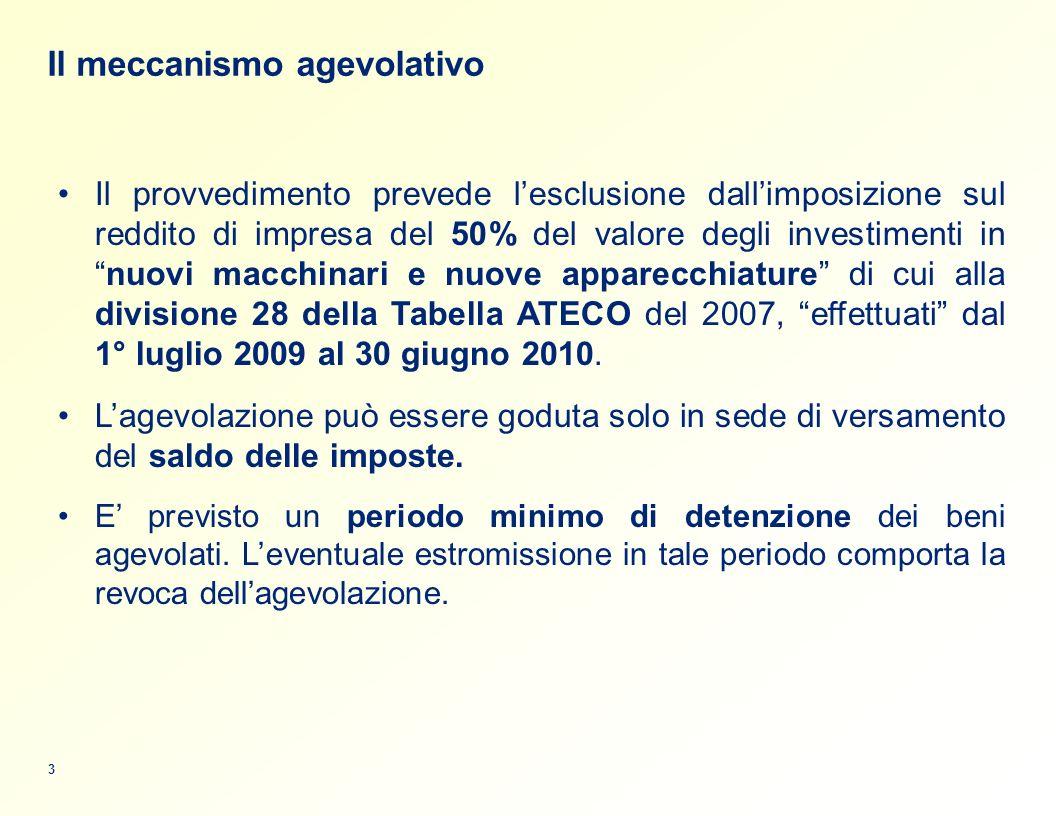 Il meccanismo agevolativo 3 Il provvedimento prevede lesclusione dallimposizione sul reddito di impresa del 50% del valore degli investimenti innuovi macchinari e nuove apparecchiature di cui alla divisione 28 della Tabella ATECO del 2007, effettuati dal 1° luglio 2009 al 30 giugno 2010.