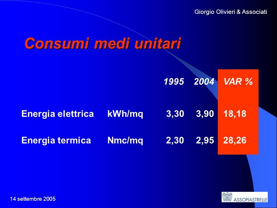 14 settembre 2005 Giorgio Olivieri & Associati Consumi medi unitari 1995 2004 VAR % Energia elettricakWh/mq 3,30 3,90 18,18 Energia termicaNmc/mq2,30 2,95 28,26