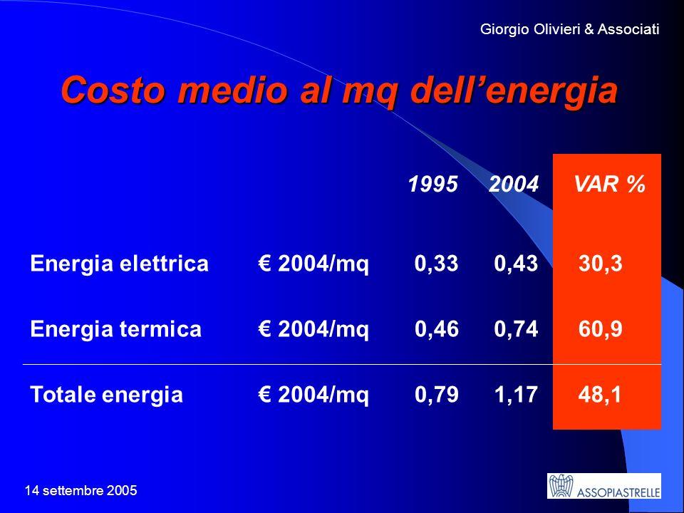 14 settembre 2005 Giorgio Olivieri & Associati Costo medio al mq dellenergia 1995 2004 VAR % Energia elettrica 2004/mq0,33 0,43 30,3 Energia termica 2004/mq0,46 0,74 60,9 Totale energia 2004/mq0,79 1,17 48,1