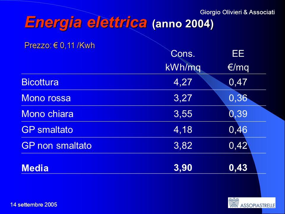 14 settembre 2005 Giorgio Olivieri & Associati Energia elettrica (anno 2004) Prezzo: 0,11 /Kwh Cons.