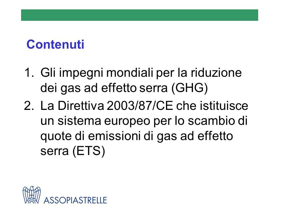 Contenuti 1.Gli impegni mondiali per la riduzione dei gas ad effetto serra (GHG) 2.La Direttiva 2003/87/CE che istituisce un sistema europeo per lo sc