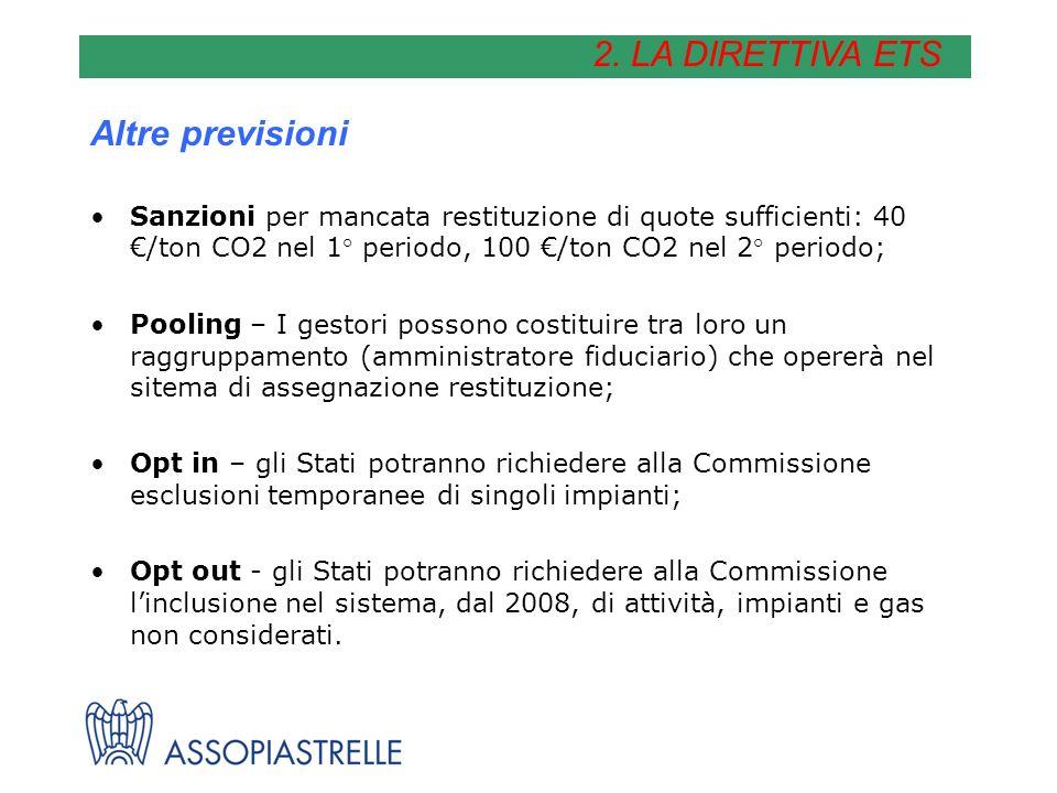 Altre previsioni Sanzioni per mancata restituzione di quote sufficienti: 40 /ton CO2 nel 1° periodo, 100 /ton CO2 nel 2° periodo; Pooling – I gestori