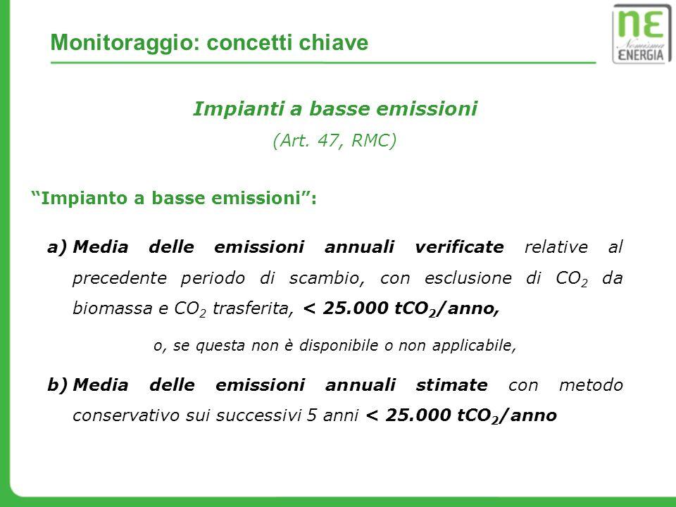 Impianti a basse emissioni (Art. 47, RMC) a)Media delle emissioni annuali verificate relative al precedente periodo di scambio, con esclusione di CO 2
