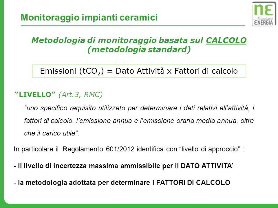 Monitoraggio impianti ceramici Metodologia di monitoraggio basata sul CALCOLO (metodologia standard) Emissioni (tCO 2 ) = Dato Attività x Fattori di c