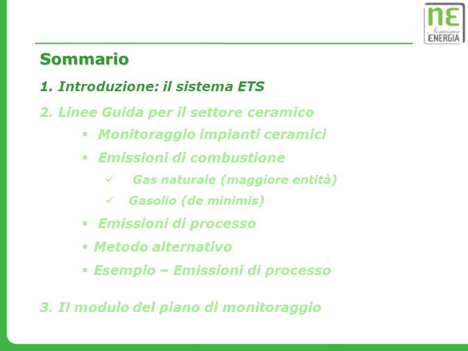 Campo di applicazione Attività elencate nell Allegato I della Direttiva 2003/87/CE (Direttiva ETS) modificato dalla Direttiva 2009/29/CE 4 m3e/o capacità di forno 300 Kg/m3e densità di colata Prodotti ceramici Capacità produttiva75 t/g AttivitàCapacità di sogliaSoglia Introduzione: il sistema ETS