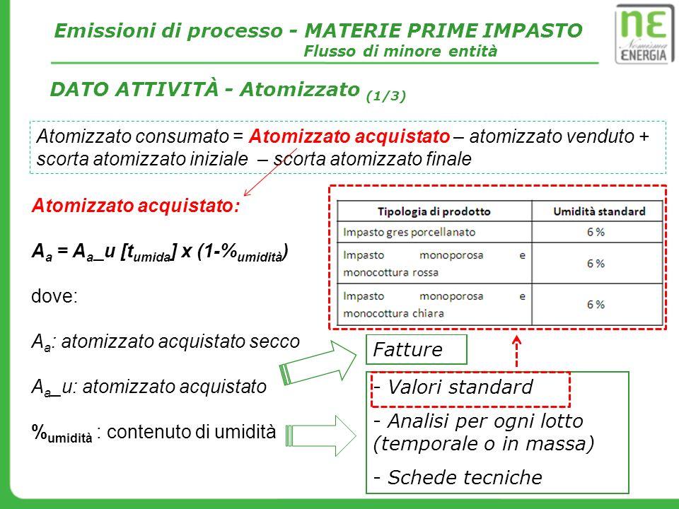Atomizzato acquistato: A a = A a _u [t umida ] x (1-% umidità ) dove: A a : atomizzato acquistato secco A a _u: atomizzato acquistato % umidità : cont