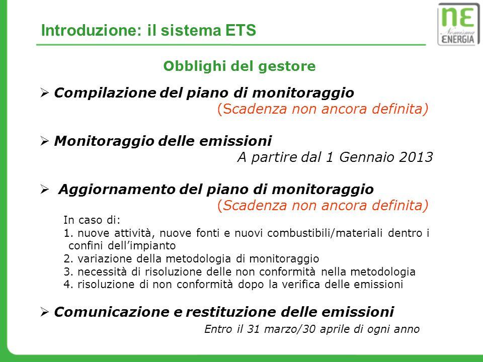 Compilazione del piano di monitoraggio (Scadenza non ancora definita) Monitoraggio delle emissioni A partire dal 1 Gennaio 2013 Aggiornamento del pian