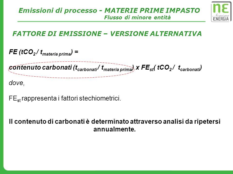 FE (tCO 2 / t materia prima ) = contenuto carbonati (t carbonati / t materia prima ) x FE st ( tCO 2 / t carbonati ) dove, FE st rappresenta i fattori