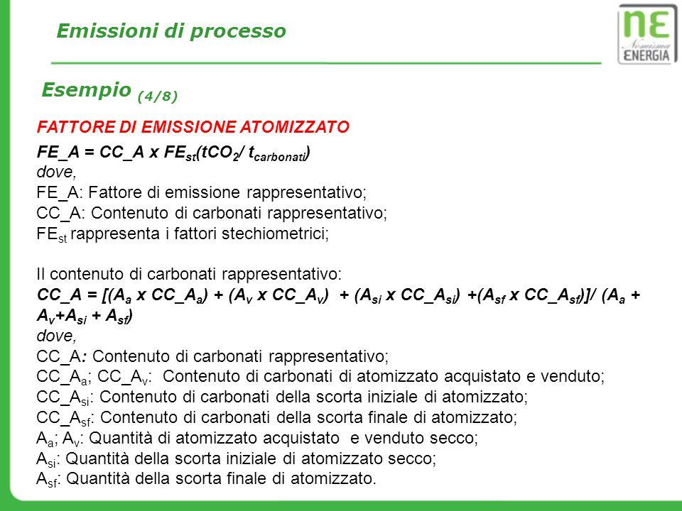 FATTORE DI EMISSIONE ATOMIZZATO FE_A = CC_A x FE st (tCO 2 / t carbonati ) dove, FE_A: Fattore di emissione rappresentativo; CC_A: Contenuto di carbon