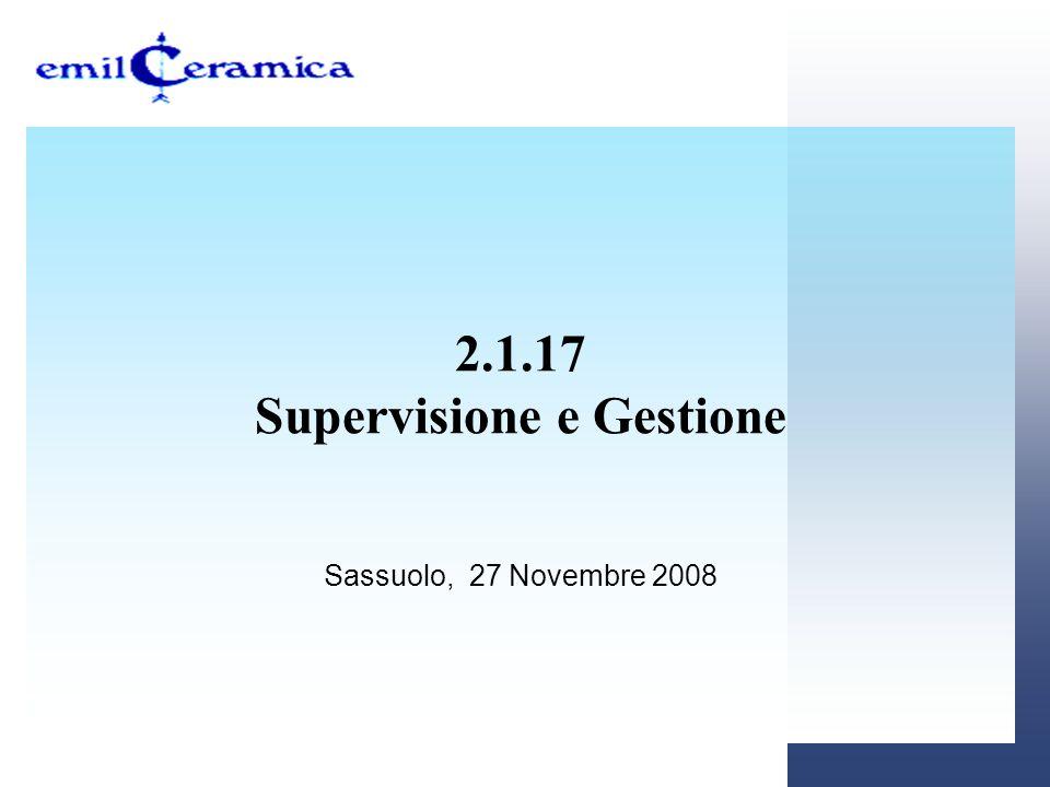 2.1.17 Supervisione e Gestione Sassuolo, 27 Novembre 2008