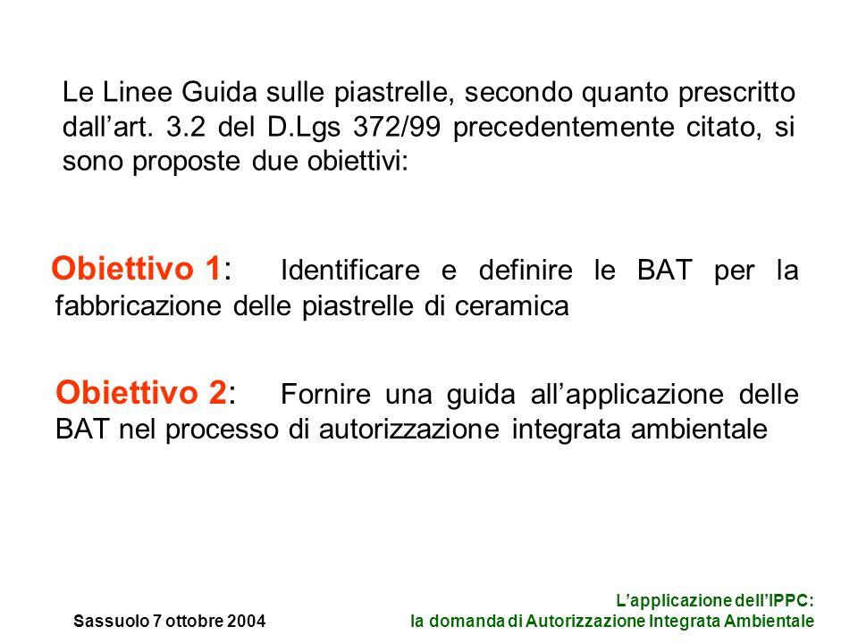 Sassuolo 7 ottobre 2004 Lapplicazione dellIPPC: la domanda di Autorizzazione Integrata Ambientale Le Linee Guida sulle piastrelle, secondo quanto prescritto dallart.
