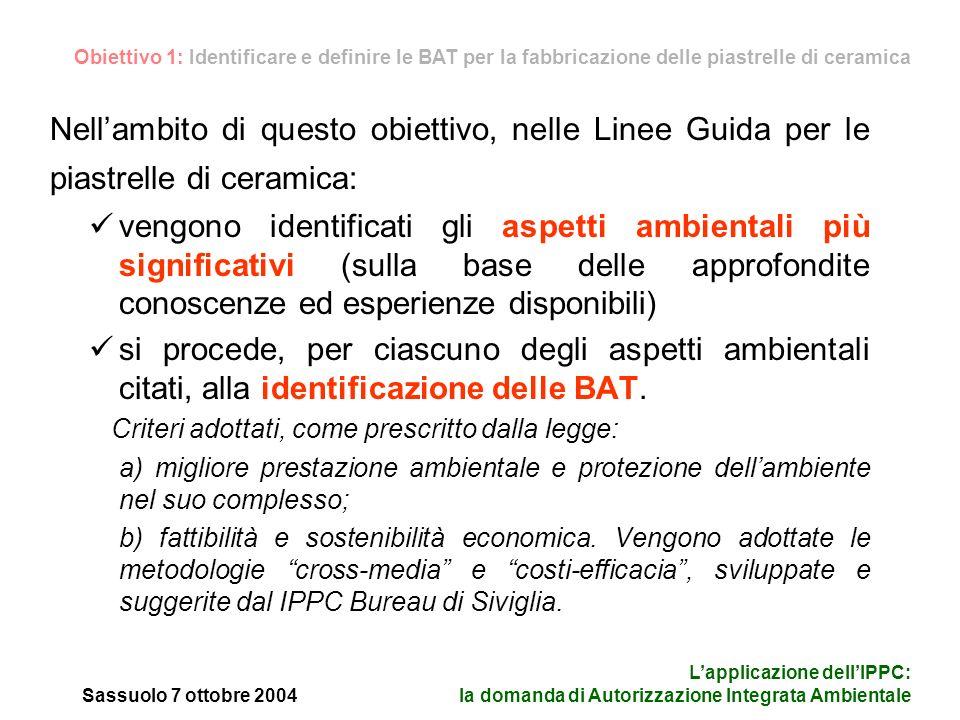 Sassuolo 7 ottobre 2004 Lapplicazione dellIPPC: la domanda di Autorizzazione Integrata Ambientale le BAT vengono definite e specificate.