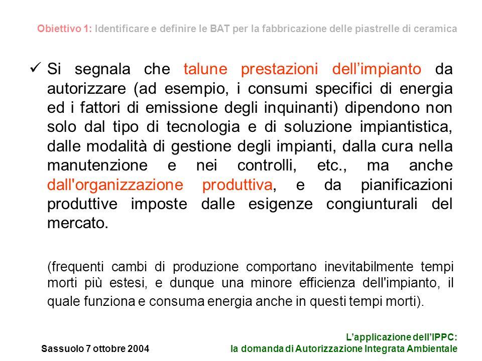 Sassuolo 7 ottobre 2004 Lapplicazione dellIPPC: la domanda di Autorizzazione Integrata Ambientale Oltre a ciò, consumi energetici elevati possono essere associati a - e quindi giustificati da - l ottenimento di particolari prestazioni tecniche o estetiche sui prodotti.