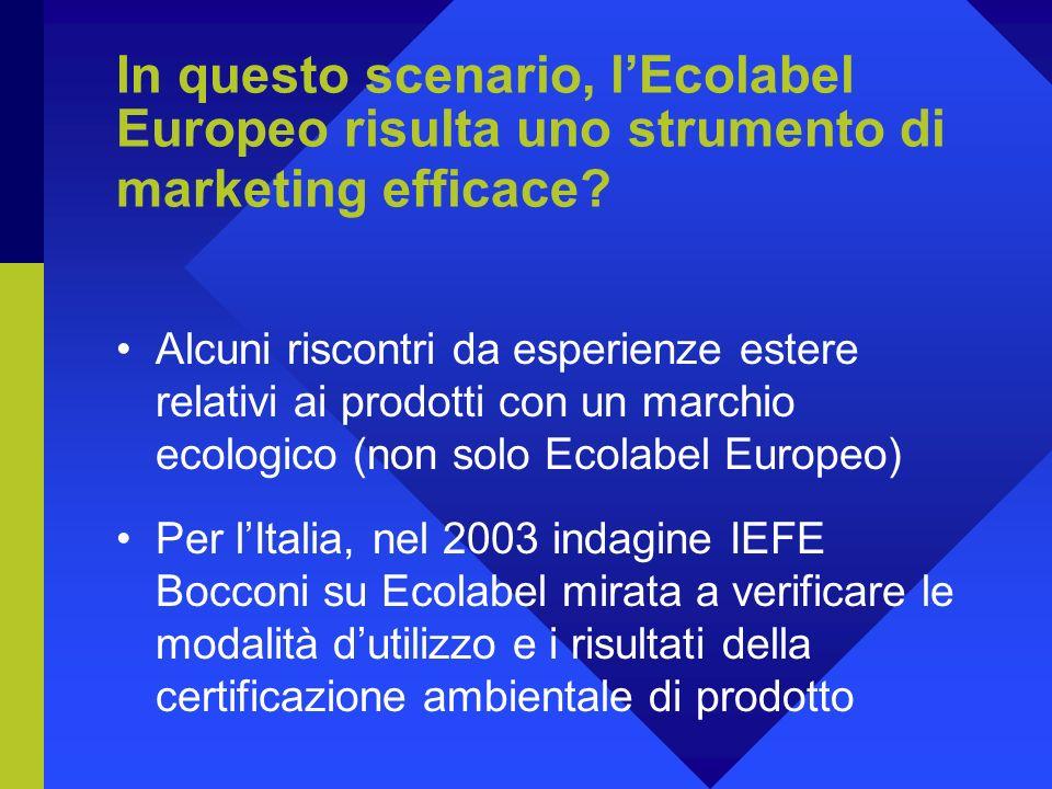 In questo scenario, lEcolabel Europeo risulta uno strumento di marketing efficace.