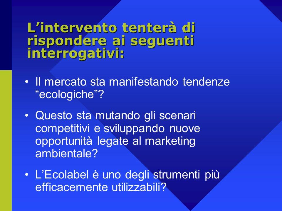 Lintervento tenterà di rispondere ai seguenti interrogativi: Il mercato sta manifestando tendenze ecologiche.