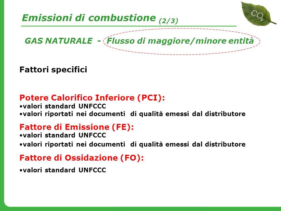 GAS NATURALE - Flusso di maggiore/minore entità Fattori specifici Potere Calorifico Inferiore (PCI): valori standard UNFCCC valori riportati nei docum