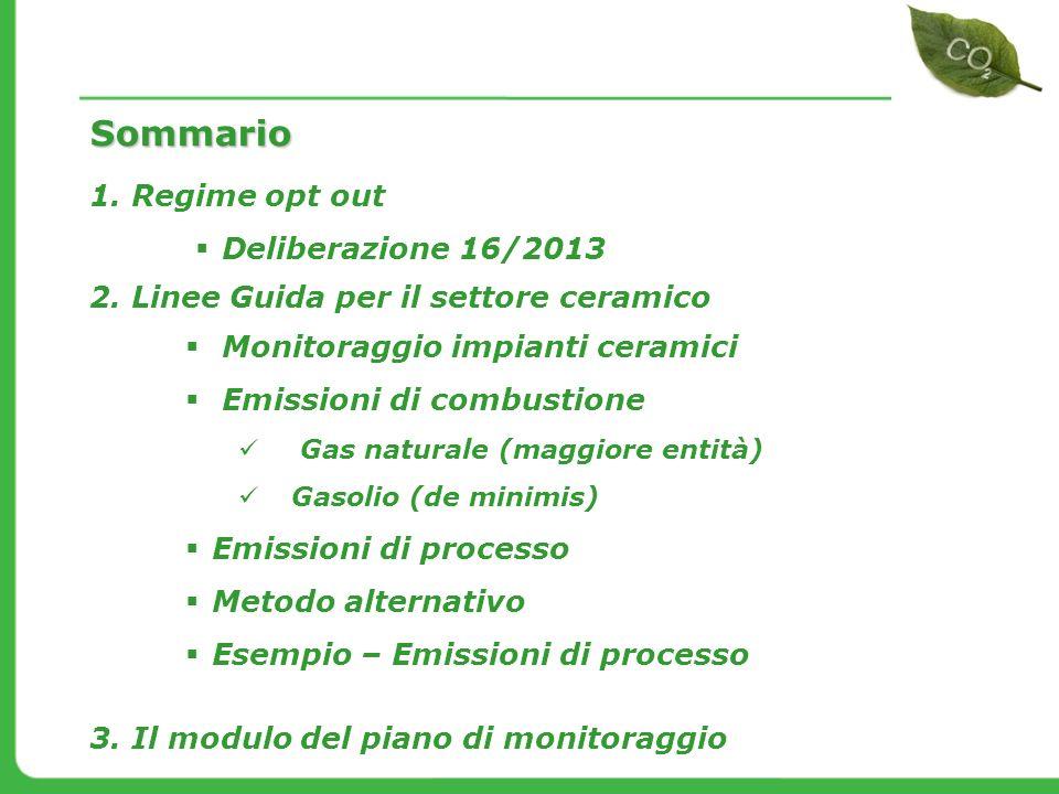 Monitoraggio impianti ceramici Emissioni di combustione Gas naturale (maggiore entità) Gasolio (de minimis) Emissioni di processo Metodo alternativo E