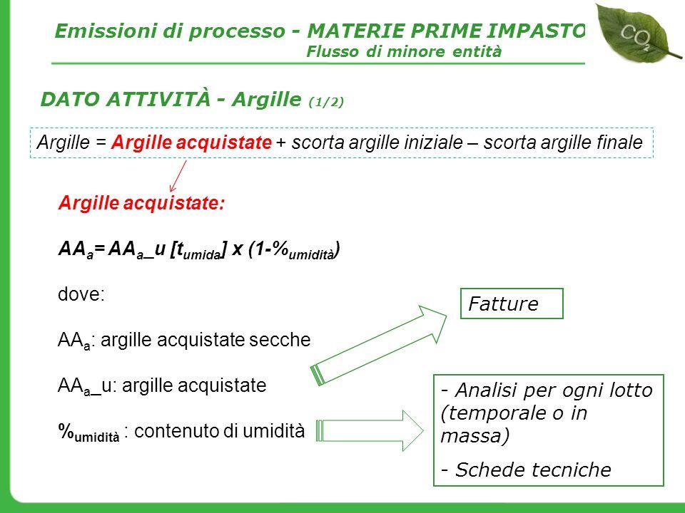 Argille acquistate: AA a = AA a _u [t umida ] x (1-% umidità ) dove: AA a : argille acquistate secche AA a _u: argille acquistate % umidità : contenut